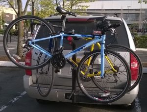 Bikes stuck on car