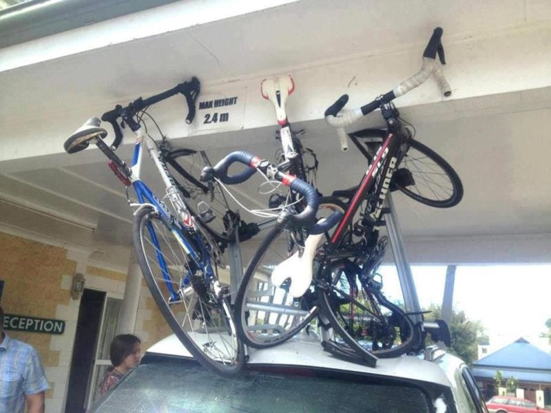 damaged bikes on a roof rack