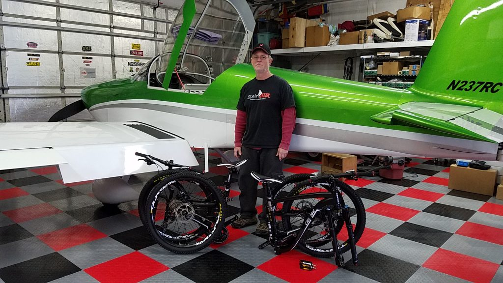 Adult folding bikes ready to go in a plane.