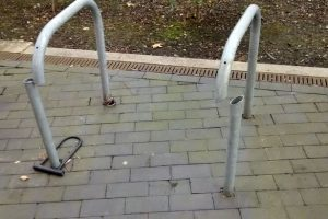 Cut bike rack after bike theft