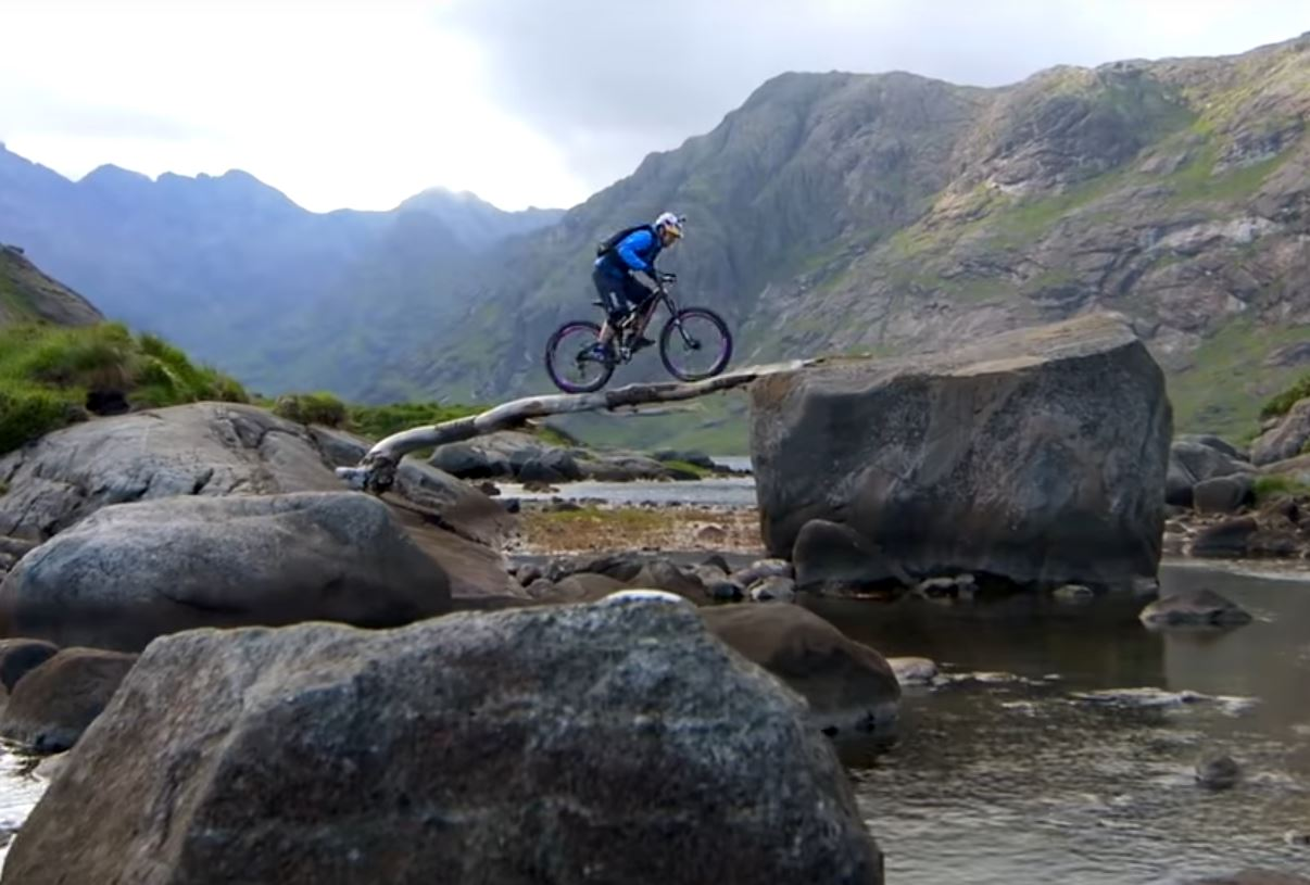 Danny MacAskill crossing water in a totally scary way.