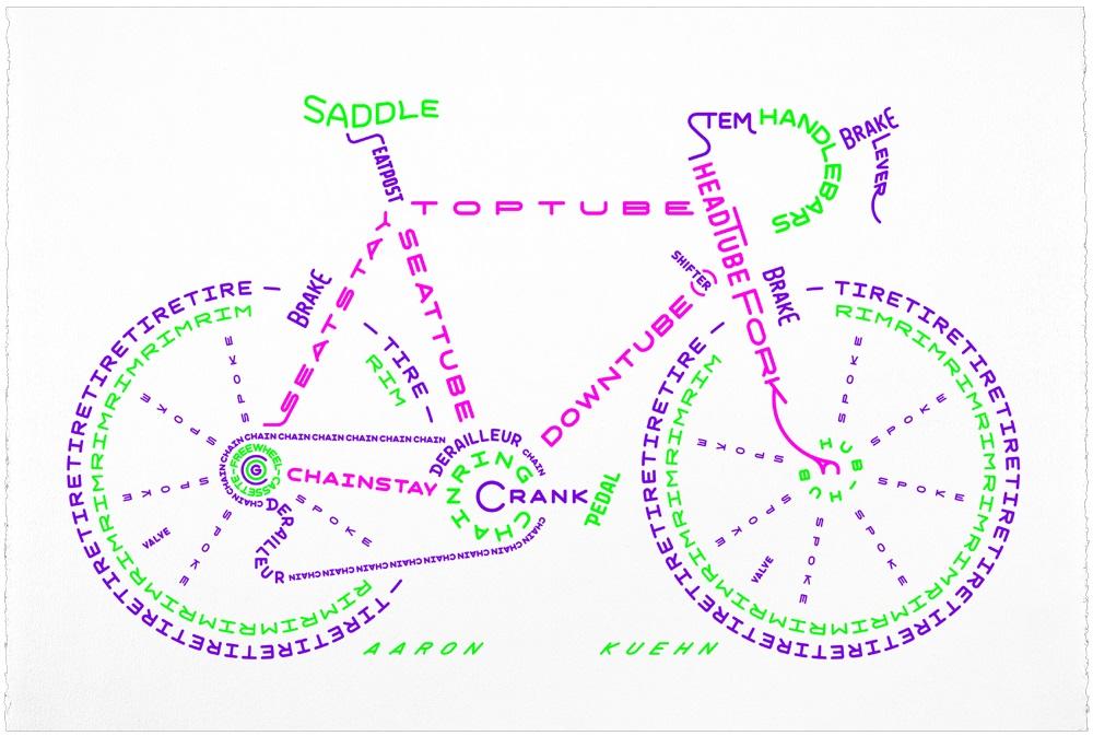 Aaron Kuehn's bike typography