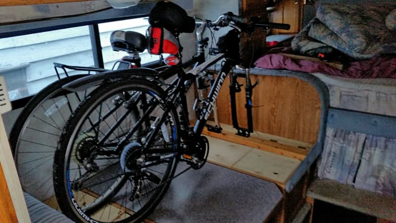 bikes taking up sleeping space in an RV