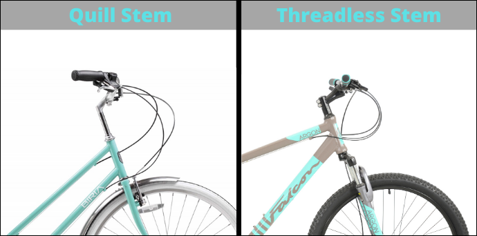 Quill to threadless stem