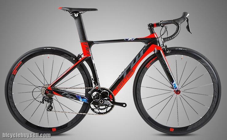 red carbon bike with Retrospec rims