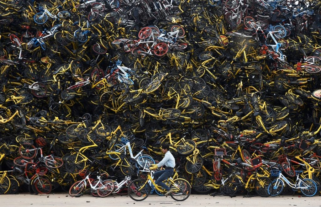 bicycle graveyard.