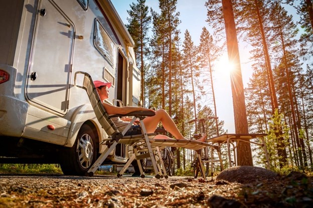 relaxing next to an rv