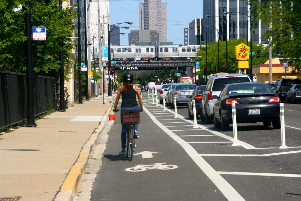 cyclist in safe bike lane