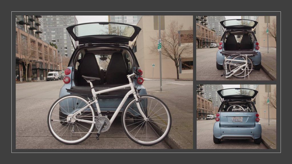 The CHANGE 702 folding into a Smart Car